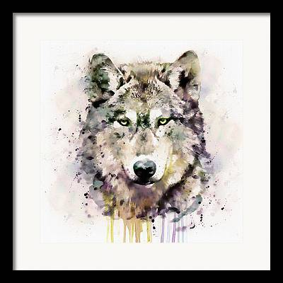 White Wolf Mixed Media Framed Prints