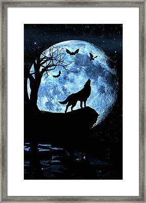Wolf Howling At Full Moon With Bats Framed Print