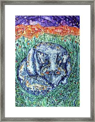 Wolf In The Grass Framed Print