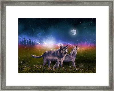 Wolf In The Moonlight Framed Print