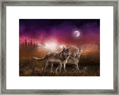 Wolf In The Moonlight Red Framed Print by Bekim Art