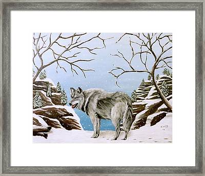 Framed Print featuring the painting Wolf In Winter by Teresa Wing