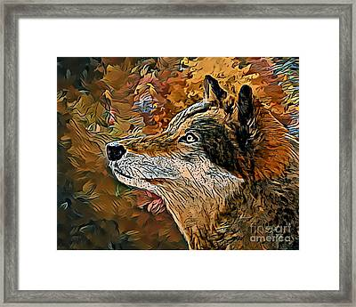 Framed Print featuring the painting Wolf by Lita Kelley