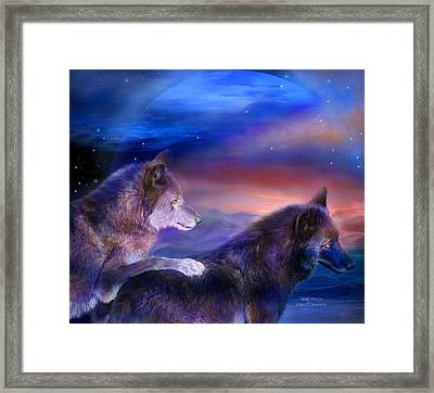 Wolf Mates Framed Print by Carol Cavalaris