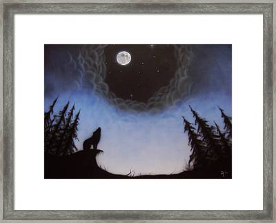 Wolf Moon Framed Print by Devaron Jeffery