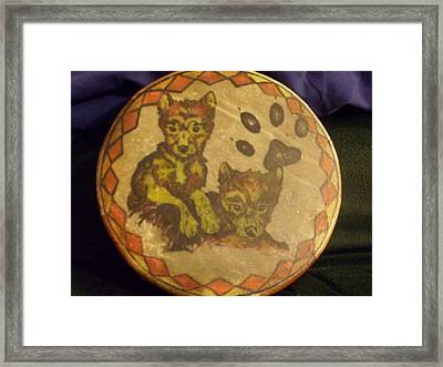 Wolf Pup Drum Framed Print by Angelina Benson