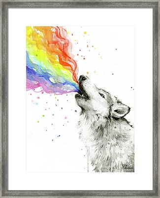 Wolf Rainbow Watercolor Framed Print by Olga Shvartsur