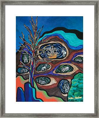 Wolf Spin Out Framed Print by Deidre Firestone
