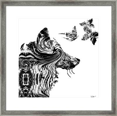 Wolf With Butterflies Framed Print by Abstract Angel Artist Stephen K