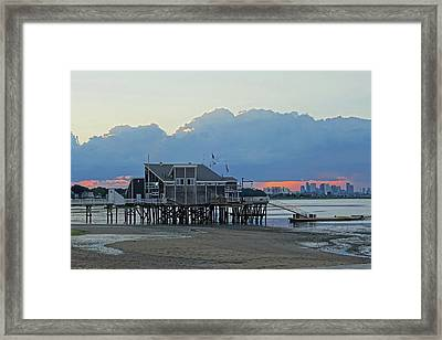 Wollaston Beach Quincy Ma Sunset Boston Skyline Quincy Ma Framed Print