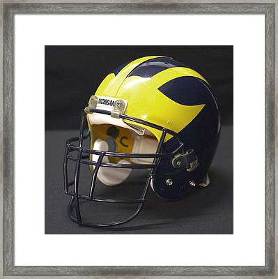 Framed Print featuring the photograph Wolverine Helmet From The 1990s by Michigan Helmet