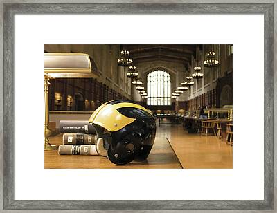 Framed Print featuring the photograph Wolverine Helmet In Law Library by Michigan Helmet
