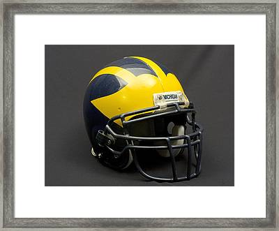 Framed Print featuring the photograph Wolverine Helmet Of The 2000s Era by Michigan Helmet