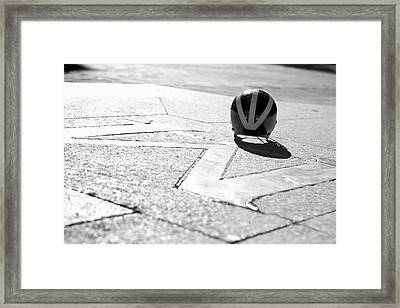 Framed Print featuring the photograph Wolverine Helmet On The Diag M by Michigan Helmet