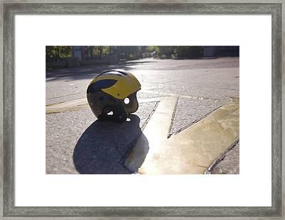Framed Print featuring the photograph Wolverine Helmet On The Diag by Michigan Helmet