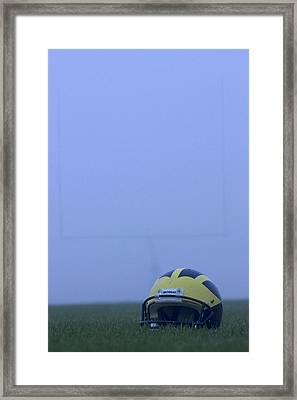 Wolverine Helmet On The Field In Heavy Fog Framed Print