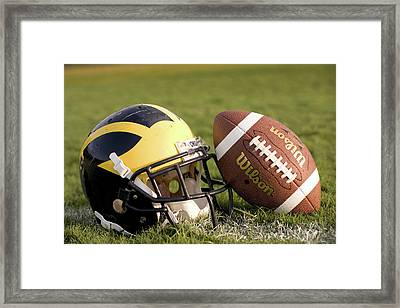 Wolverine Helmet With Football On The Field Framed Print