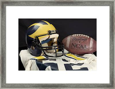 Wolverine Helmet With Jersey And Football Framed Print