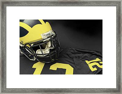 Wolverine Helmet With Jersey Framed Print