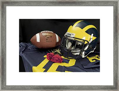 Wolverine Helmet With Roses, Jersey, And Football Framed Print
