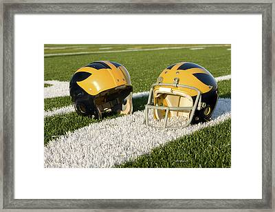 Wolverine Helmets From Different Eras On The Field Framed Print