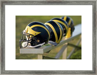 Wolverine Helmets On A Bench Framed Print