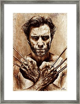 Wolverine Sepia Mix Framed Print by Andrew Read