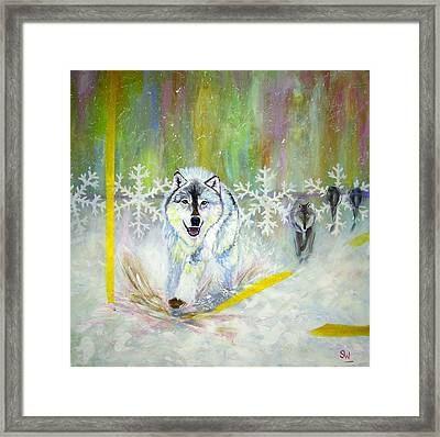 Wolves Approach Framed Print