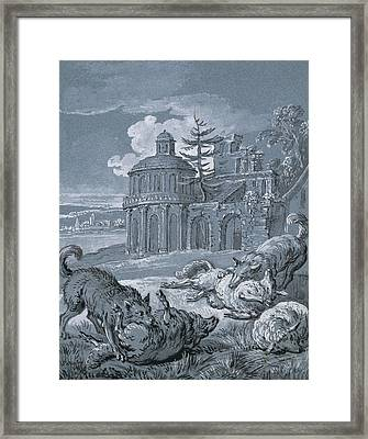 Wolves Attacking Sheep Framed Print by Jean-Baptiste Oudry