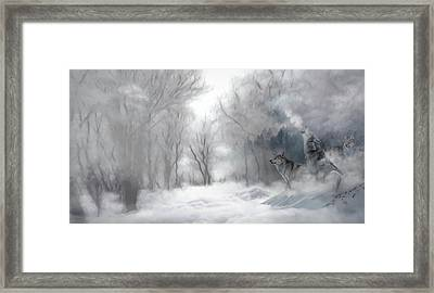 Wolves In The Mist Framed Print