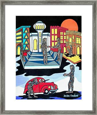 Wolves Night Out Framed Print by Deidre Firestone