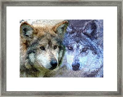 Framed Print featuring the digital art Wolves by Tom Romeo