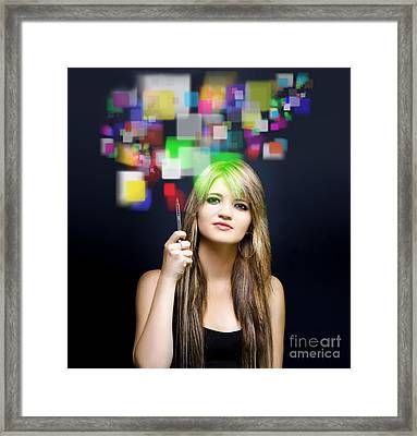 Woman Accessing Digital Media With Touch Screen Framed Print