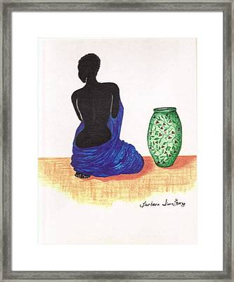 Woman And A Ginger Jar Framed Print by Bee Jay