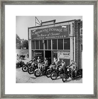 The Motor Maids Of America Outside The Shop They Used As Their Headquarters, 1950. Framed Print by Lawrence Christopher