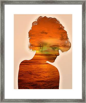 Woman And A Sunset Framed Print