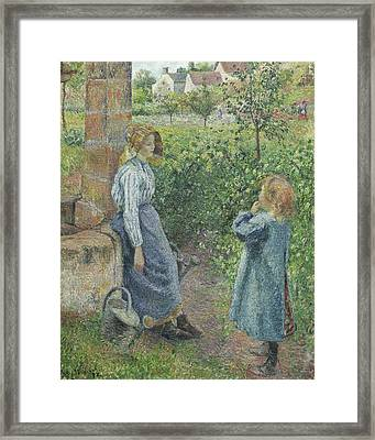 Woman And Child At The Well Framed Print by Camille Pissarro