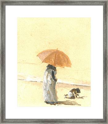 Woman And Child On Beach Framed Print by Lincoln Seligman