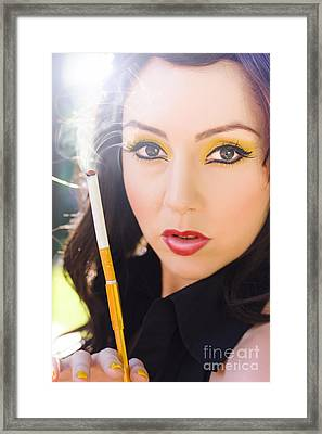 Woman And Cigarette Framed Print by Jorgo Photography - Wall Art Gallery