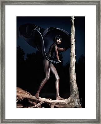 Woman And Dead Tree Framed Print by Oleksiy Maksymenko