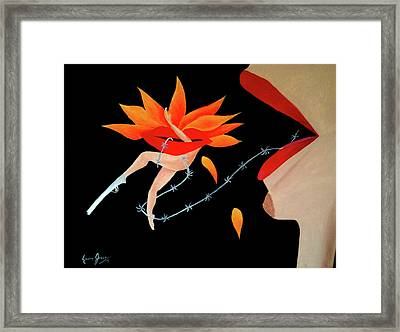 Woman And Establishment Framed Print