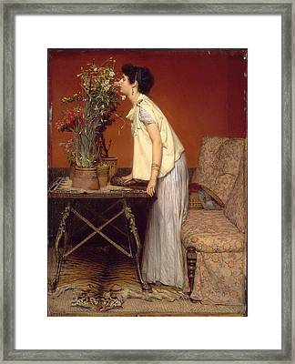 Woman And Flowers Framed Print