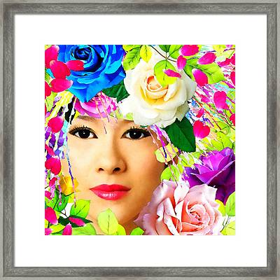Woman And Roses Framed Print