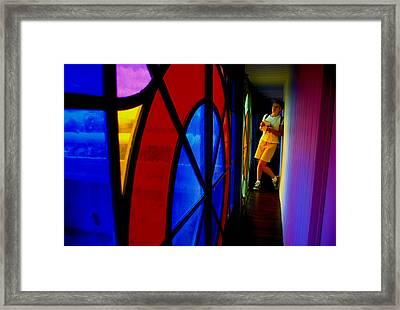 Woman And Stained Glass Framed Print