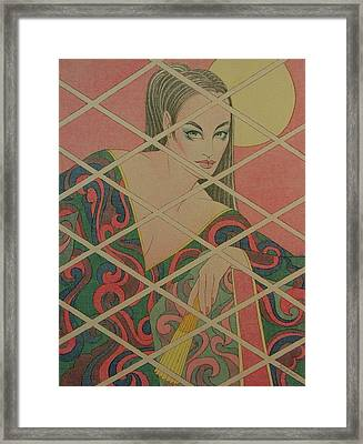 Woman And The Moon Framed Print by Gary Kaemmer