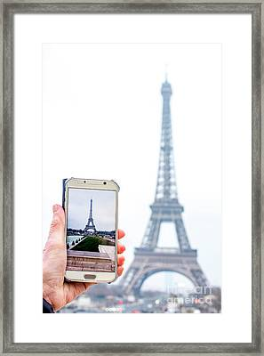 Woman Anonymous Photographing The Eiffel Tower. Paris. France. Europe. Framed Print