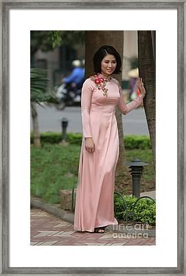 Woman Ao Dai Dress  Framed Print