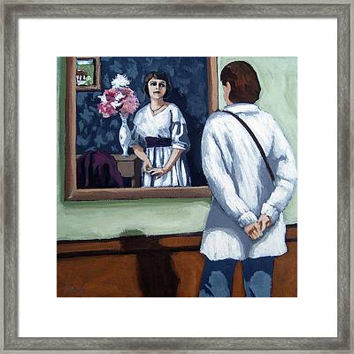 Woman At Art Museum Figurative Painting Framed Print