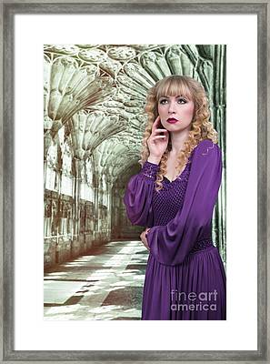 Woman At Cathedral Framed Print by Amanda Elwell