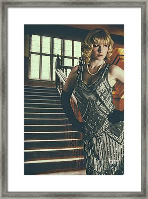 Woman At Foot Of Grand Staircase Framed Print by Amanda Elwell